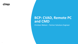 PDF – Business Continuity Plan: CVAD, Remote PC and CMD
